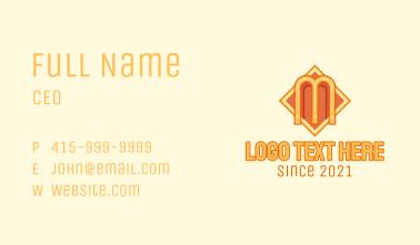 Orange Art Deco Letter M  Business Card