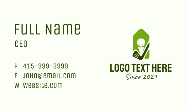 golf contest - Green Golf Badge  Business card horizontal design