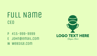 Green Tennis Trophy Cup  Business Card