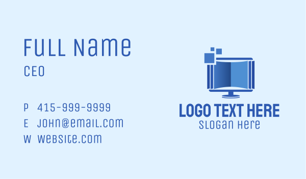pixelized - Digital Book Monitor  Business card horizontal design