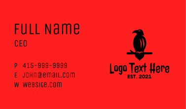 Black Vulture Heart Business Card