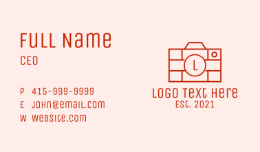 Brick Photo Camera Business Card