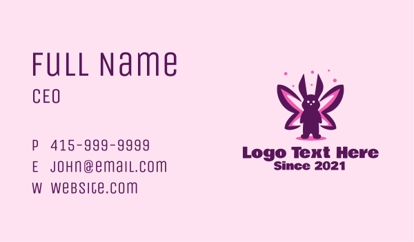 stuffed toy - Rabbit Butterfly Business card horizontal design