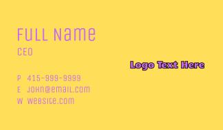 Purple Pop Art Wordmark  Business Card