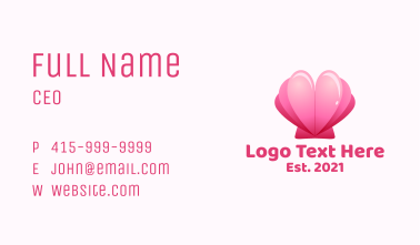 Heart Clam Shell  Business Card