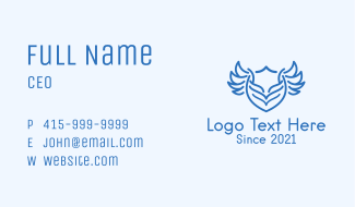 Blue Shield Wings Emblem Business Card