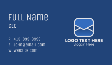 Blue Mailing Application Business Card