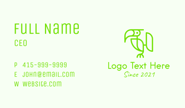Monoline Toucan Bird  Business Card