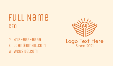 Orange Wrench Wings Outline Business Card