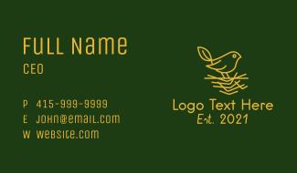 Gold Leaf Sparrow  Business Card
