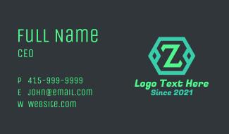 Green Hexagon Letter Z Business Card