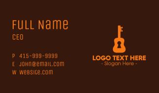 Orange Guitar Keyhole Business Card