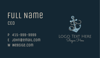 Anchor Rope Letter T Business Card