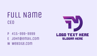 Purple Gaming Letter M Business Card