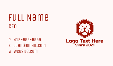 Wild Lion Hexagon Badge Business Card
