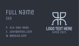 Blue Symmetrical Letter R & R Business Card