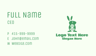 Green Easter Bunny Business Card