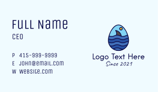Ocean Shark Egg Business Card