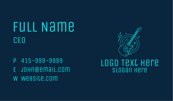 gig - Neon Electric Guitar  Business card horizontal design