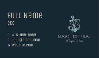 Anchor Rope Letter R Business Card
