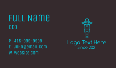 Blue Motorcycle Racer Business Card