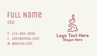 Pink Bunny Monoline Business Card