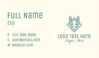 Green Monoline Islamic Mosque Business Card