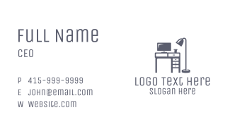 Gray Desk Office Business Card