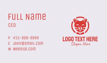 Red Happy Cat Emblem Business Card