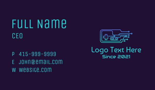 it expert - Gradient Circuit Controller Business card horizontal design