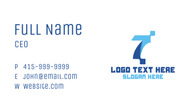 Blue Digital Number 7 Business Card