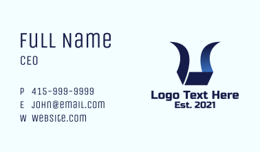 Blue Horn Letter U Business Card