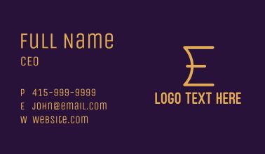 Golden Letter E Business Card