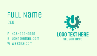 Teal Virus Power Switch Business Card