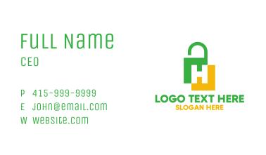 Green Yellow H Padlock Business Card