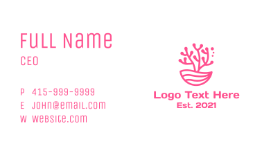 Minimalist Pink Coral  Business Card