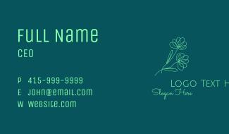 Green Flower Line Art Business Card