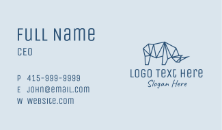 Blue Geometric Rhino Business Card