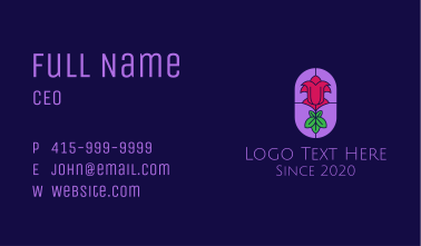 Stained Glass Rose Business Card