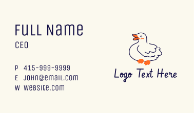 Happy Duck Mascot  Business Card