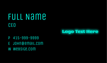 Glowing Blue Text Business Card