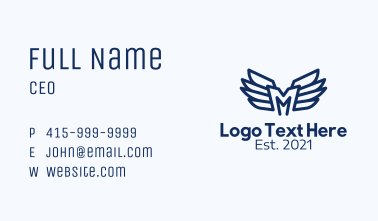 Blue Letter M Wings Business Card