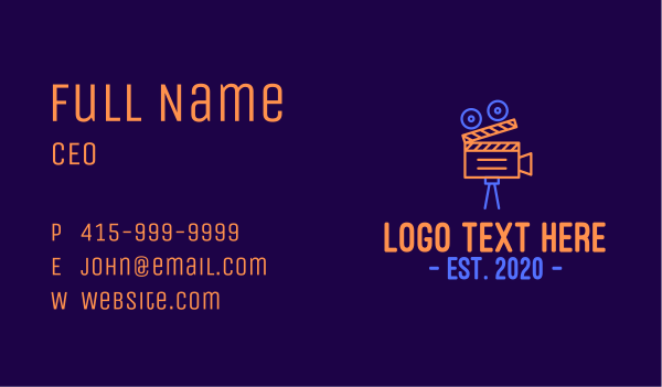 video streaming - Neon Film Directing Business card horizontal design
