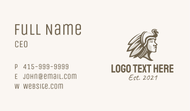 Native Tribe Warrior  Business Card