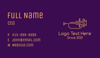 Golden Minimalist Trumpet Business Card