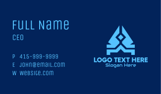 Blue Abstract Technology Business Card