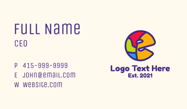 Colorful Letter E Business Card