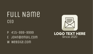 Mail App Icon Business Card