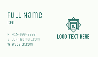 Green Islamic Quran Monoline Business Card