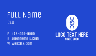 Blue DNA Strand Business Card